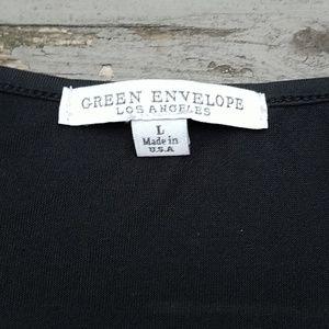 Green Envelope Tops - Green envelope  flutter sleeve black top